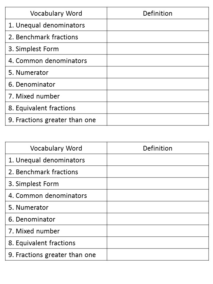 Vocabulary cards for students